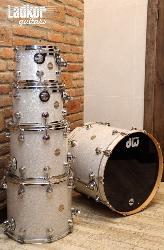 DW Collectors White Marine Pearl Shell Pack Drums