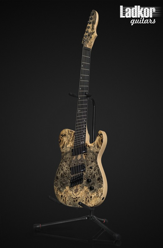 Legator OTF7OD Opus Fanned Fret Multi Scale 7 String Natural Buckeye Burl Top Overdrive Series NEW